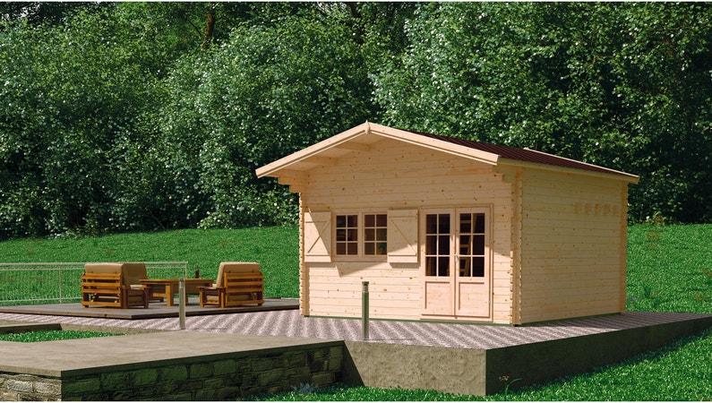 Abri de jardin bois Jasmin avec mezzanine Ep.44 mm, 19.18 m² | Leroy ...