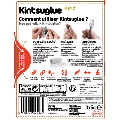 Pâte à Réparer Flexible Kintsuglue Noire Loctite 15 G