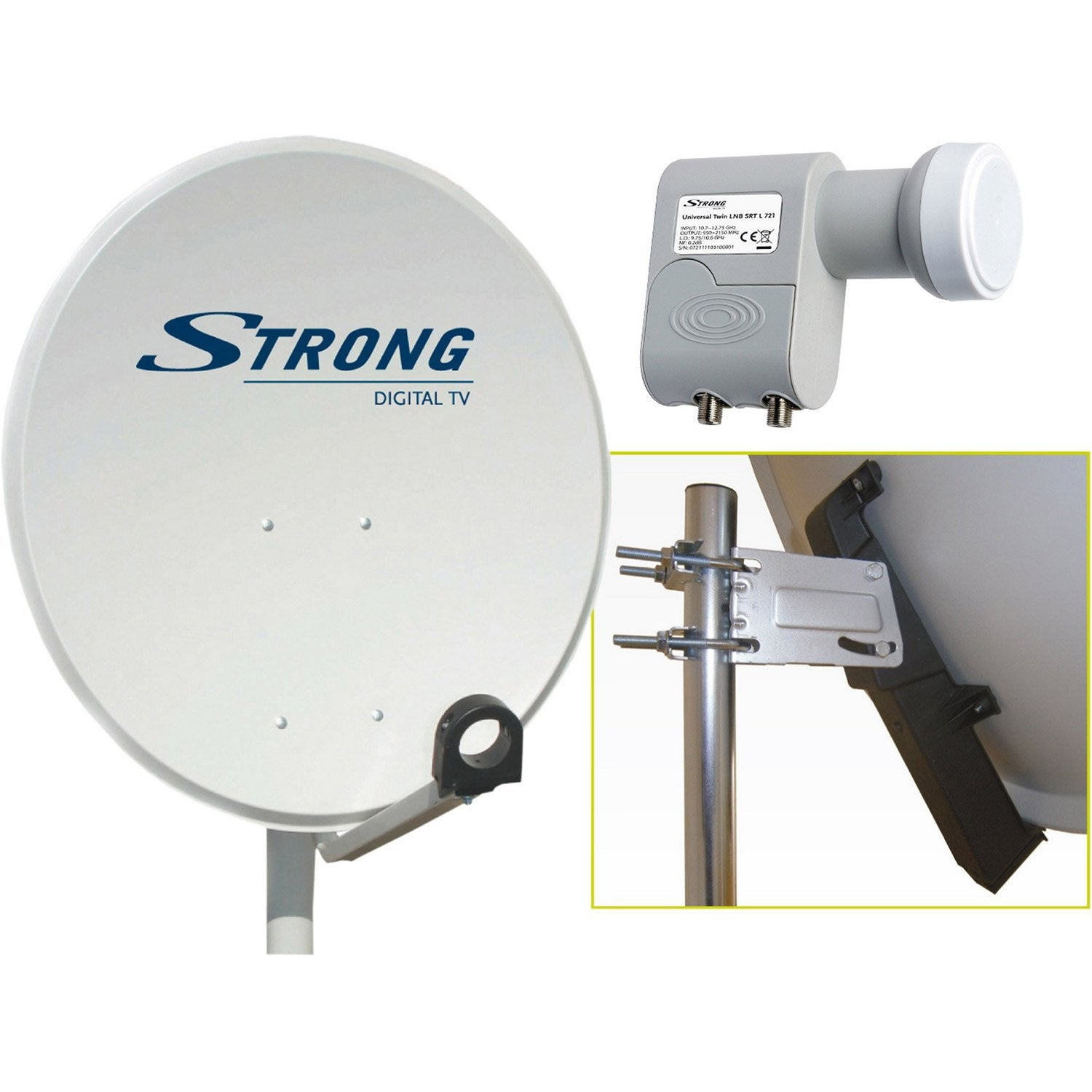 antenne satellite parabolique acier 80 cm, strong | leroy merlin