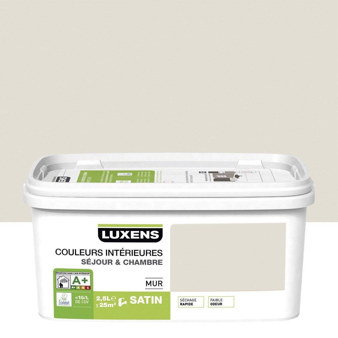 Peinture blanc lin 2 satin LUXENS Couleurs intérieures 2.5 l ...