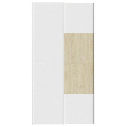 Lot de 2 portes coulissantes spaceo home 240 x 120 x 15 cm blanc leroy merlin - Porte coulissante 240 ...