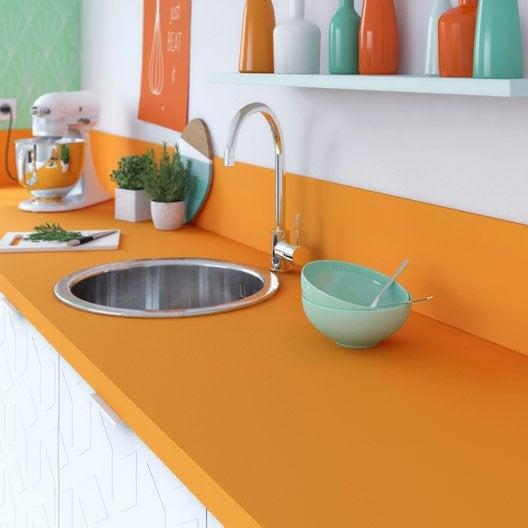 plan de travail droit stratifi orange orange n 1 300 x 65 cm p 37 mm leroy merlin. Black Bedroom Furniture Sets. Home Design Ideas