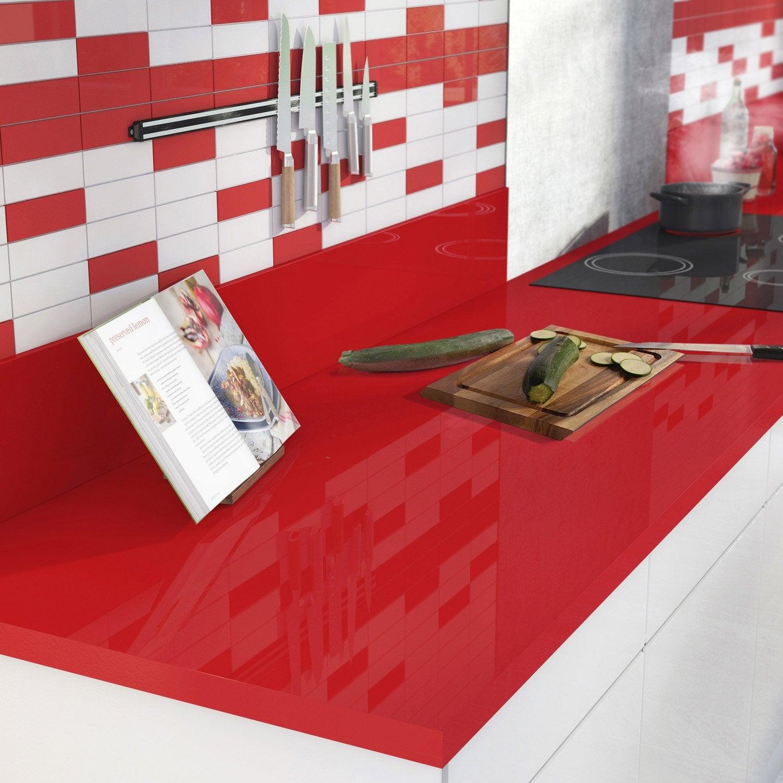 Cuisine Rouge Brillant plan de travail stratifié rouge-rouge 3 brillant l.300 x p.65 cm, ep