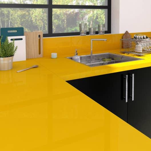 plan de travail stratifi jaune serin brillant x cm mm leroy merlin. Black Bedroom Furniture Sets. Home Design Ideas