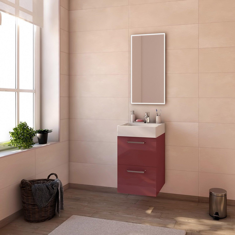 Meuble de salle de bains moins de 60 rouge neo line - Meuble salle de bain 60 cm leroy merlin ...