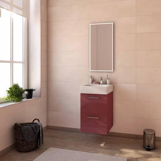 Meuble de salle de bains moins de 60, rouge, Neo line | Leroy Merlin