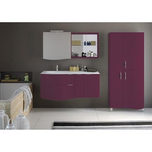 Meuble de salle de bains plus de 120 rose violet elegance leroy merlin - Meuble salle de bain rose ...