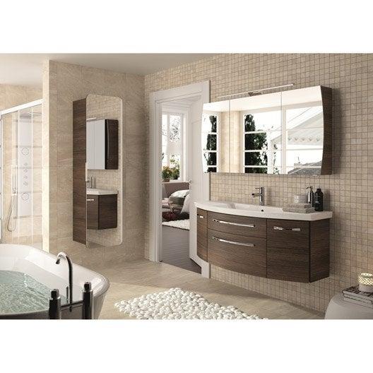 Meuble de salle de bains plus de 120 brun marron image leroy merlin - Meuble salle de bain tout en un ...