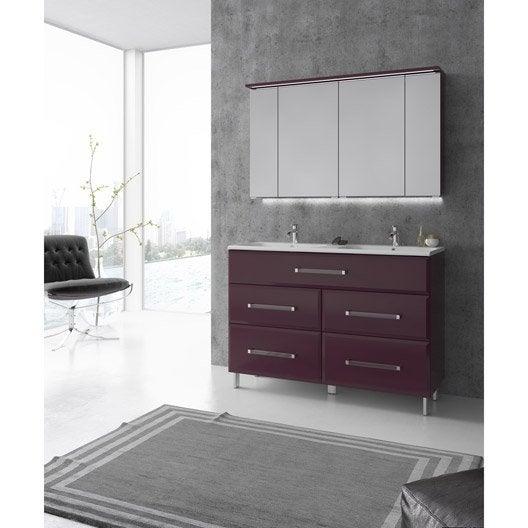Meuble de salle de bains plus de 120 rose violet opale for Carrelage violet salle de bain