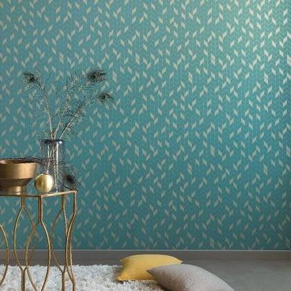Papier Peint Geometrique Turquoise Fonce Et Or Intisse Shine Leroy