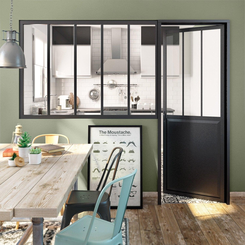 verrière atelier noir mat 5 carreaux en aluminium, h.108 x l.153 cm