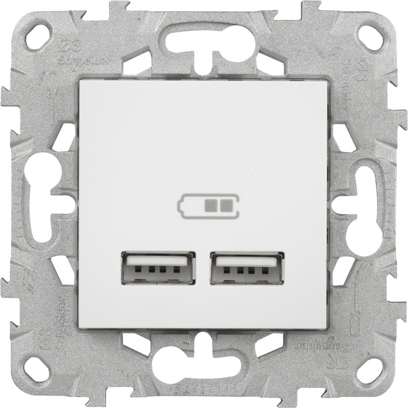 Double Prise Chargeur Usb Unica Schneider Electric Blanc