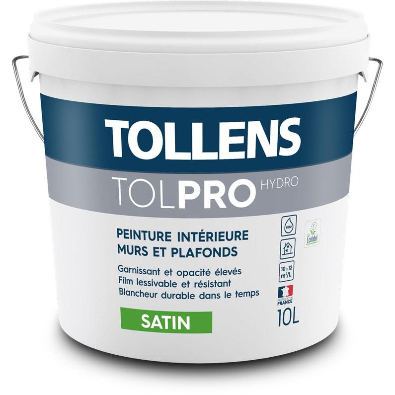 Peinture Blanc Murs Et Plafonds Tolpro Hydro Tollens Satin 10 L