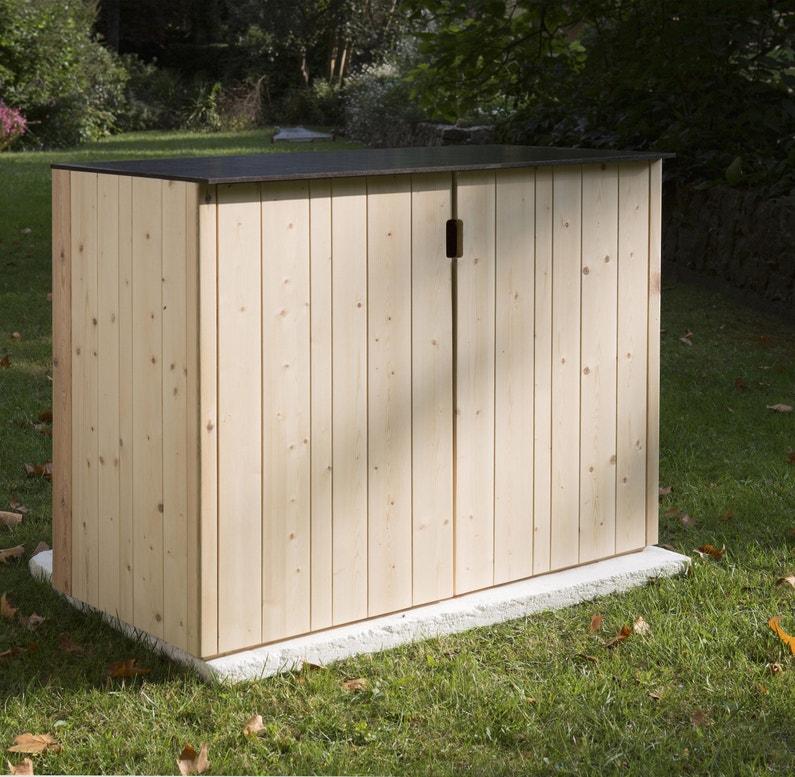 Armoire de jardin bois Vertigo naturelle, l.120 x H.91 x P.56.5 cm