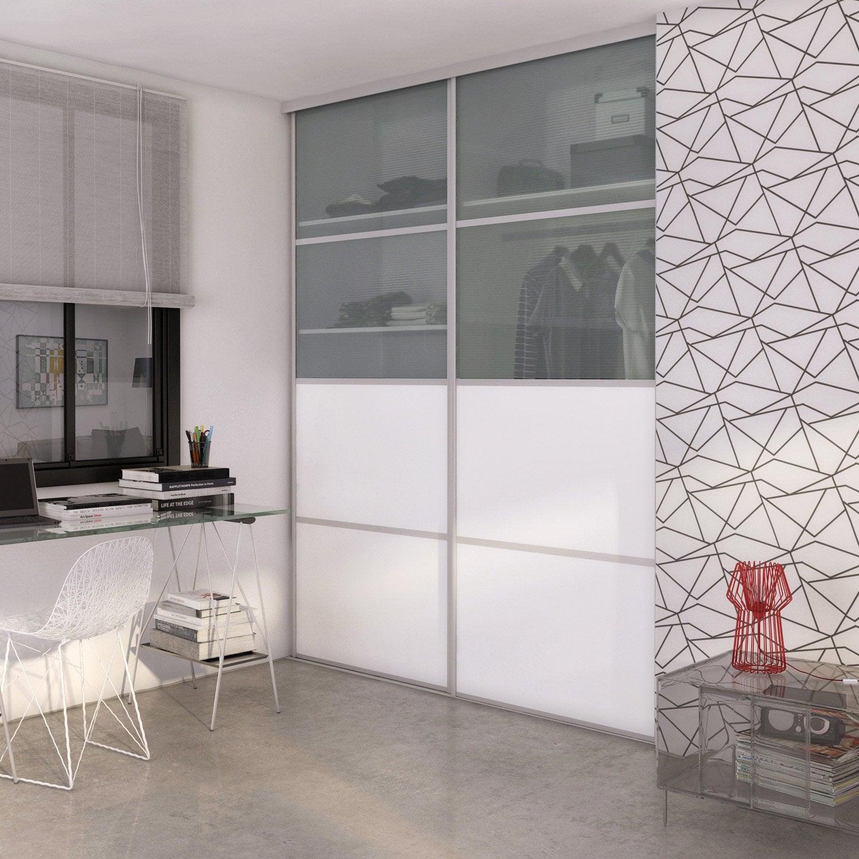 Porte De Placard Coulissante à Composer SPACEO Transparent Rainuré - Porte placard coulissante avec bloc porte design