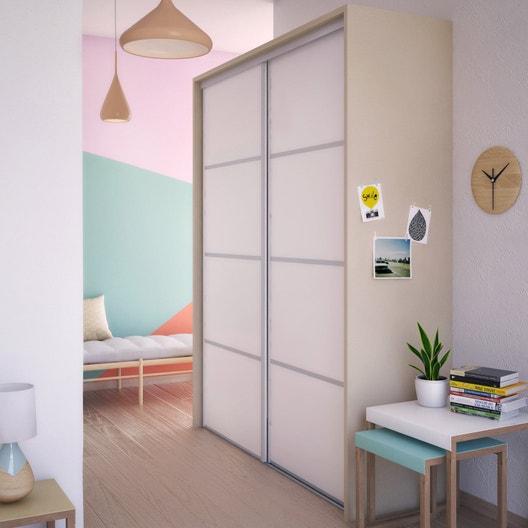 porte de placard coulissante composer d cor blanc mat spaceo leroy merlin. Black Bedroom Furniture Sets. Home Design Ideas