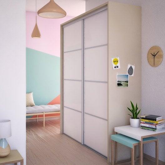 Porte de placard coulissante composer spaceo d cor blanc - Decoration porte placard ...