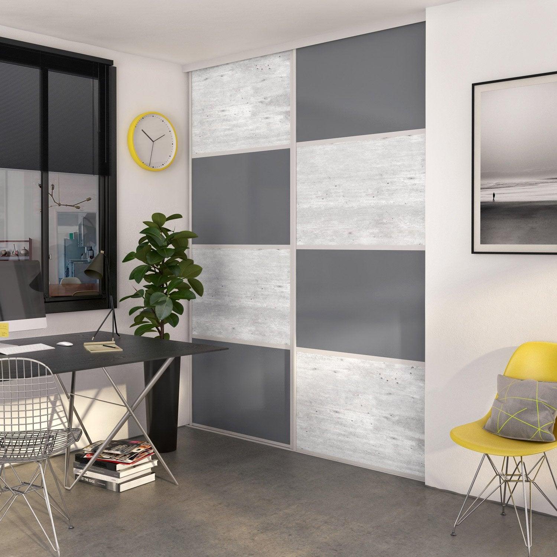 Porte De Placard Coulissante à Composer Décor Béton Gris Foncé - Porte placard coulissante et porte interieur bois design