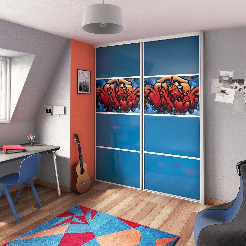 Porte De Placard Coulissante à Composer SPACEO Glossy Bleuglossy - Porte placard coulissante avec serrure anti panique
