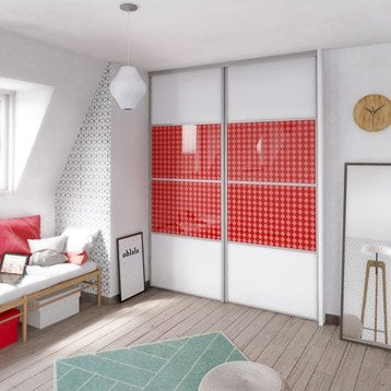 Porte de placard coulissante à composer SPACEO décor à peindre/glossy jacquard