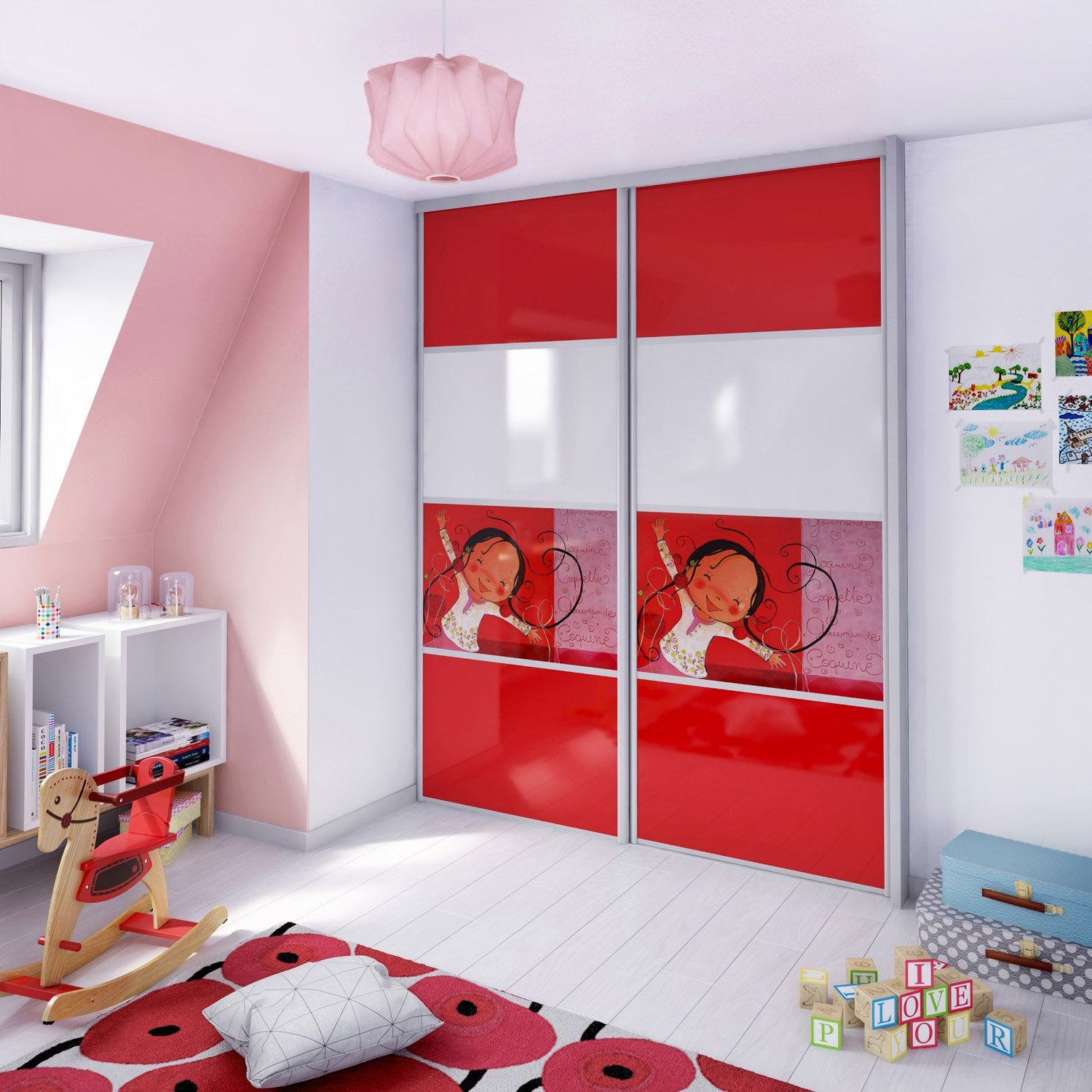 porte de placard coulissante composer spaceo glossy rouge blanc cerise leroy merlin. Black Bedroom Furniture Sets. Home Design Ideas