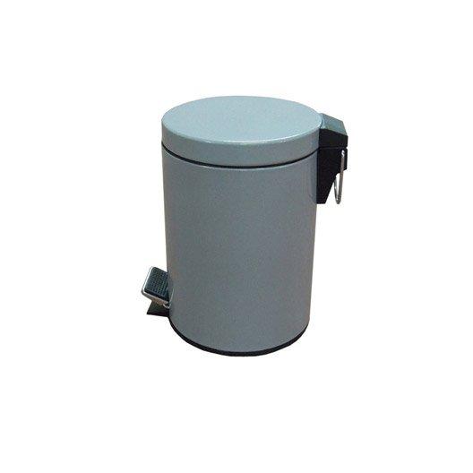 Poubelle de salle de bains 3 l gris galet 3 sensea happy for Leroy merlin poubelle salle de bain