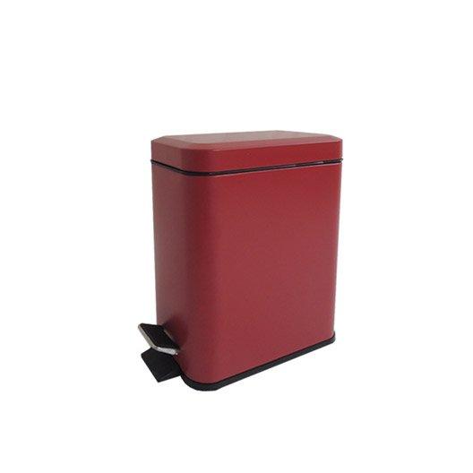 Poubelle de salle de bains 5 l rouge rouge n 3 sensea slim for Poubelle suspendue salle bain