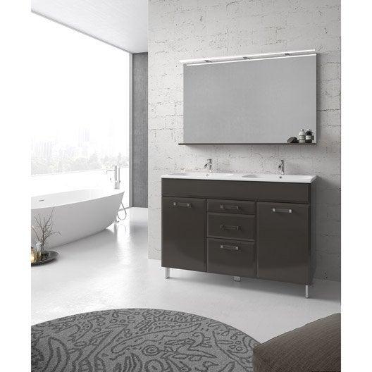 Meuble de salle de bains plus de 120, gris / argent, Opale