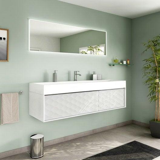 Meuble de salle de bains plus de 120, blanc / beige / naturels, Neo frame