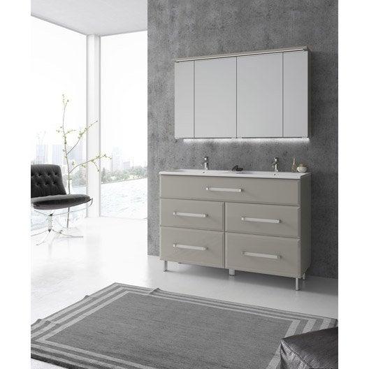 Meuble de salle de bains plus de 120 beige opale leroy for Leroy merlin meuble colonne salle de bain