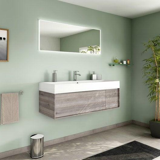 Meuble de salle de bains plus de 120 brun marron neo frame leroy merlin - Meuble salle de bain neo ...