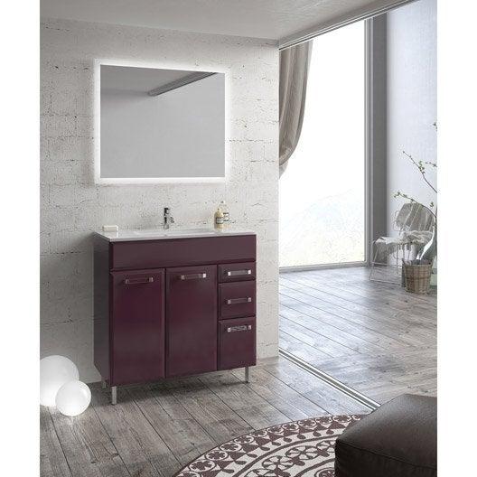 Meuble de salle de bains opale aubergine 80 cm leroy merlin for Meuble salle de bain 80 cm leroy merlin