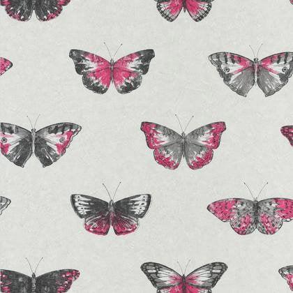 Papier Peint Papillons Rose Fonce Blanc Intisse Street Art Leroy