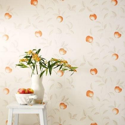 Papier Peint Guirlande Pommes Orange Intisse Bon Appetit Leroy Merlin