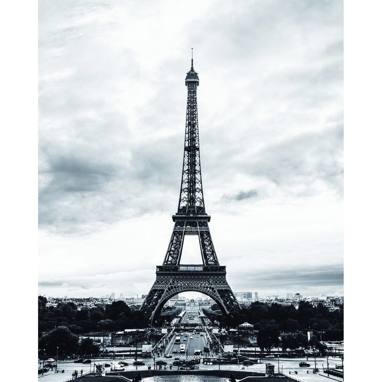 Affiche Tour Eiffel, noir, blanc et gris l.40 x H.50 cm