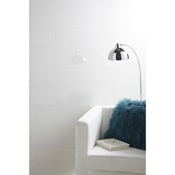 Lambris MDF revêtu blanc brillant ARTENS, L.129 x l.19 cm, Ep.8 mm
