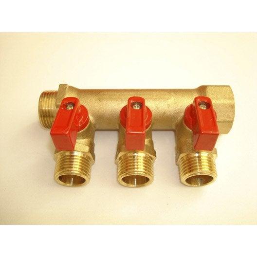 Collecteur 3 départs + vannes à compression laiton M 15 x 21 pour tube en per
