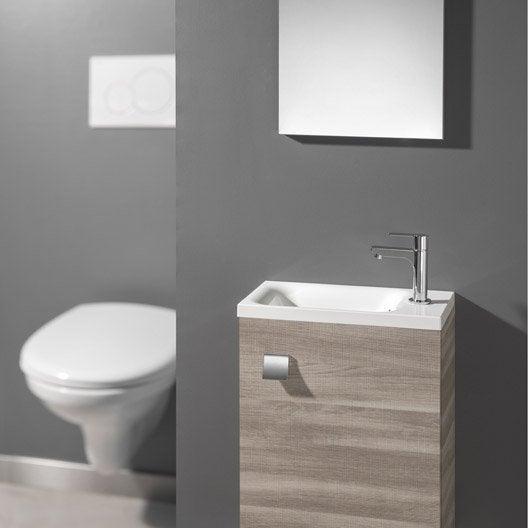Meuble lave mains avec miroir coin d 39 o bois sci clair - Meuble buanderie avec bac a laver ...