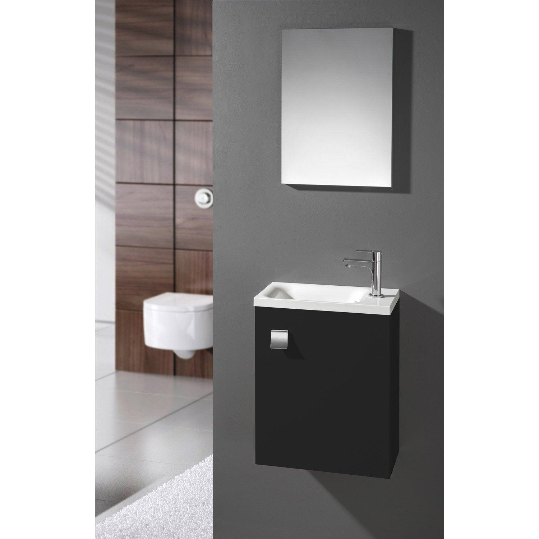 Meuble lave-mains avec miroir, Noir-Noir n°0, l.40 x p.22 x h.53.5 ...
