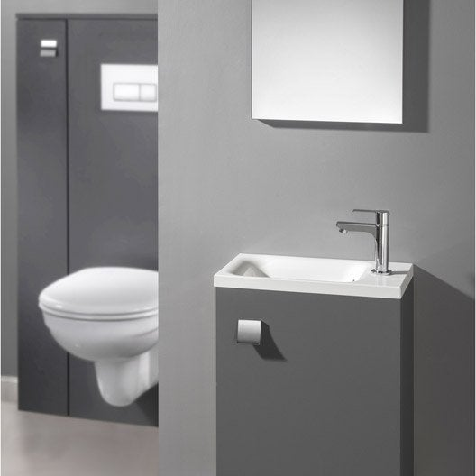 Meuble lave mains avec miroir gris gris n 1 coin d 39 o for Petit lave main wc avec meuble