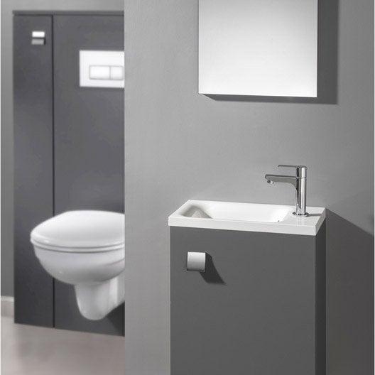 meuble lave-mains avec miroir gris-gris n°1 coin d'o | leroy merlin