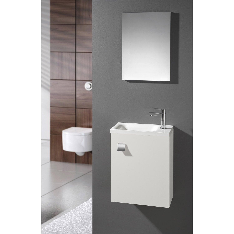 Meuble Lave Mains Avec Miroir Blanc Blanc N0 L40 X P22 X H535