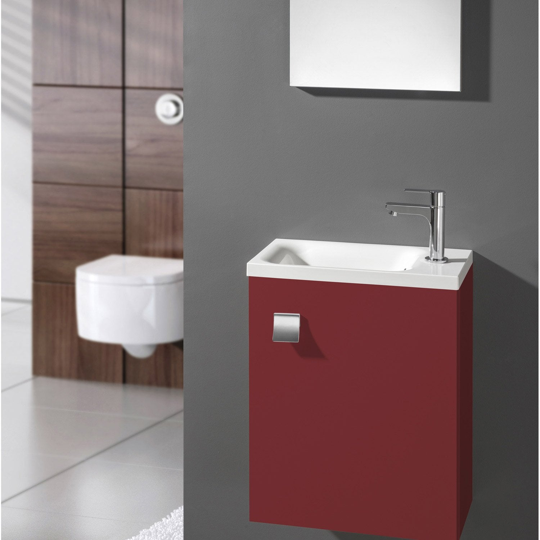 Meuble Lave Mains Avec Miroir Rouge Rouge N3 L40 X P22 X H535