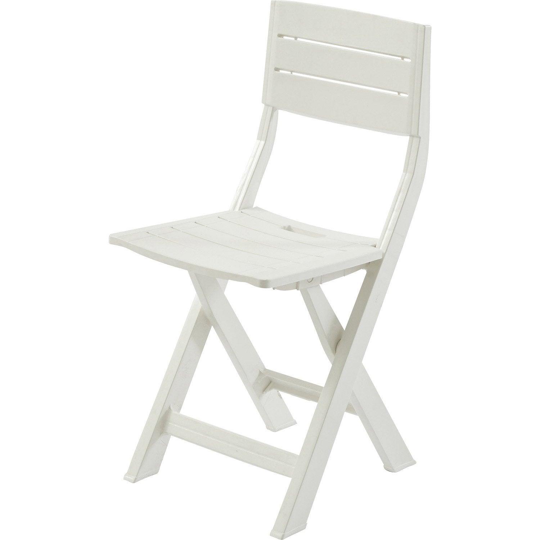 Chaise de jardin en résine injectée Gilda blanc | Leroy Merlin