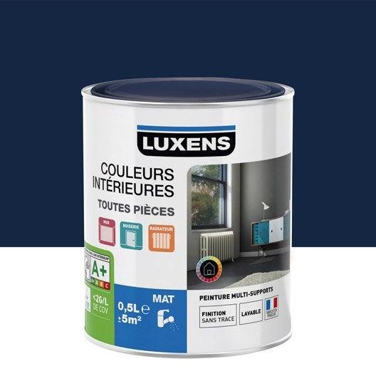 Peinture bleu jean 39 s 1 luxens couleurs int rieures mat 0 5 for Peinture bleu marine mat