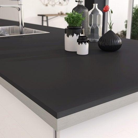 plan de travail stratifi mat edition noir mat x cm cm mm leroy merlin. Black Bedroom Furniture Sets. Home Design Ideas