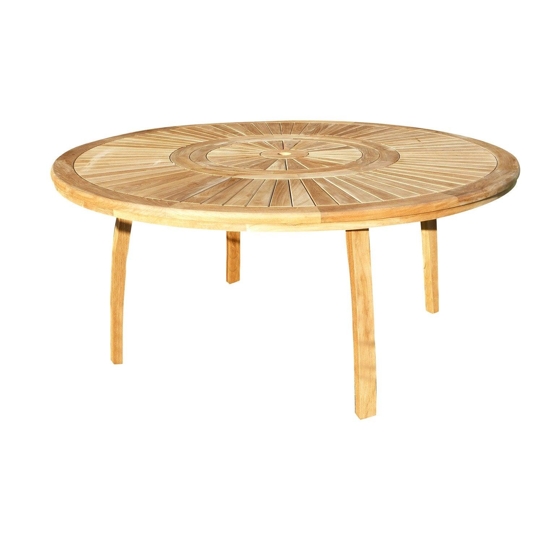Table de jardin de repas Orion ronde naturel 8 personnes   Leroy Merlin