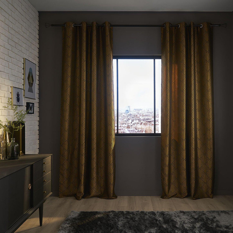 un rideau noir et dor pour une d co chic leroy merlin. Black Bedroom Furniture Sets. Home Design Ideas