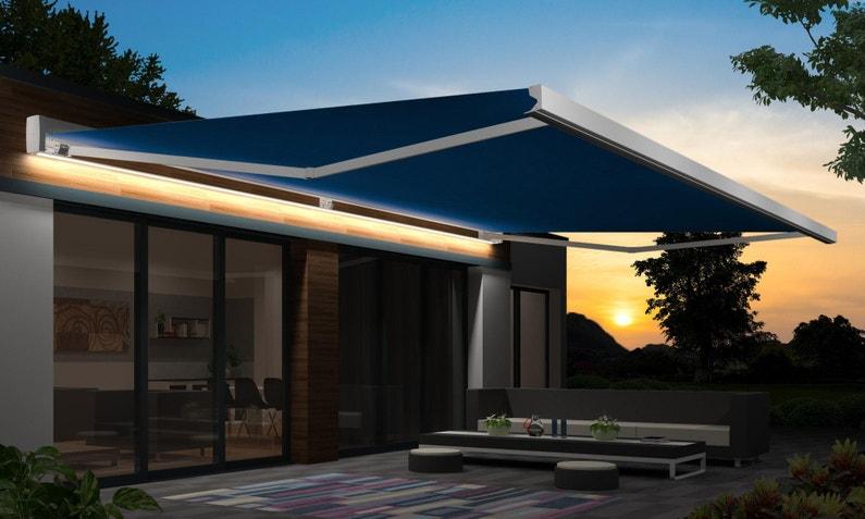 Store Banne Motorisé 5 X 4 M Led Bleu Loft Xxl Toile Acrylique Premium