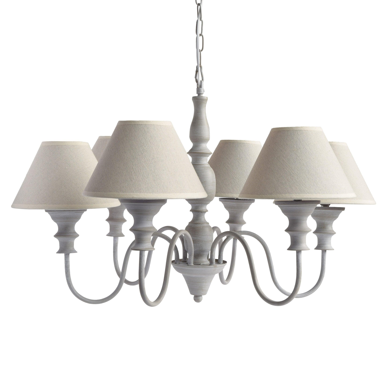 Lustre, romantique charme métal gris SEYNAVE Arlington 6 lumière(s) D.70 cm